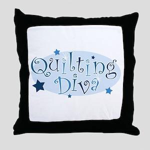 """Quilting Diva"" [blue] Throw Pillow"